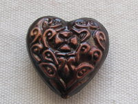 Brass heart, 25x27x9mm, brown, 1 pcs