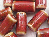 Ceramic bead, tube, 16x8mm, red, 1 pcs