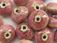 Ceramic bead, saucer, 10x7mm, pink, 1 pcs