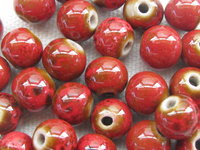 Ceramic bead, round, 8mm, red, 1 pcs