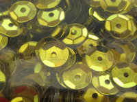 Sequin, cup, 6mm, yellow, 500 pcs