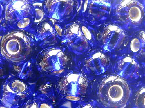 Seed bead, 5.5mm, royal blue, silver inside, 17g
