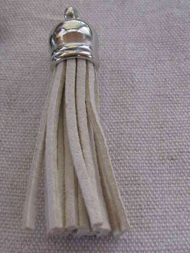 Tassel, suede, 58mm, beige, silver colour cone, 1 pcs