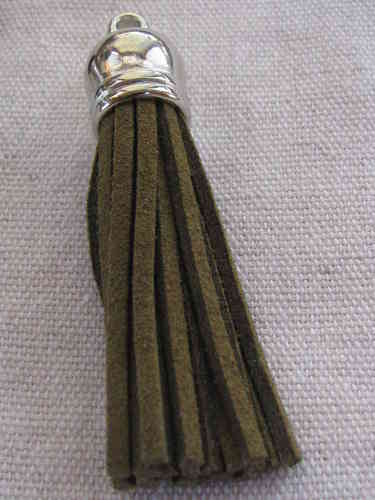 Tassel, suede, 58mm, olive, silver colour cone, 1 pcs