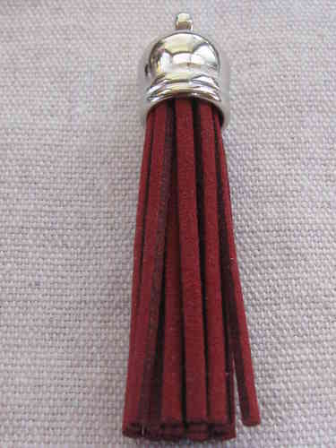 Tassel, suede, 58mm, burgundy, silver colour cone, 1 pcs