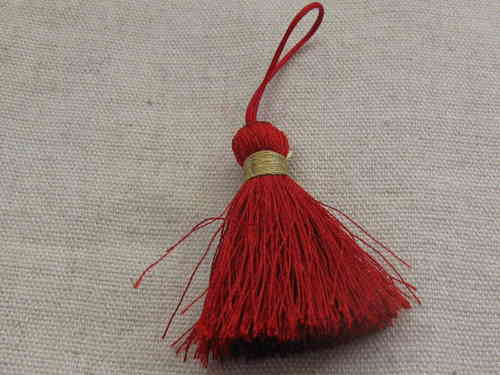 Tassel, polyester, 40mm, burgundy, loop, gold twist, 1 pcs
