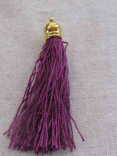 Tassel, polyester, 80mm, purple, gold cup, 1 pcs