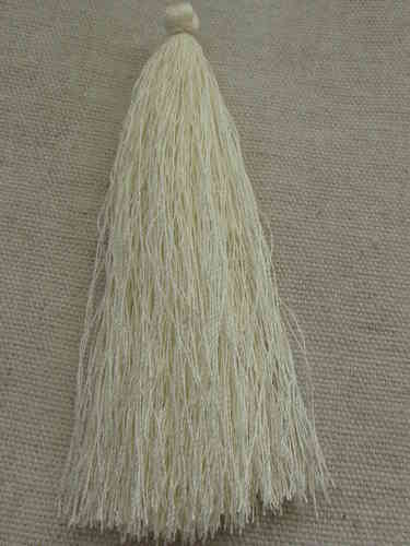 Tassel, polyester, 90mm, off white, 1 pcs