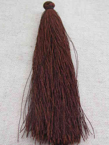 Tassel, polyester, 90mm, dark brown, 1 pcs