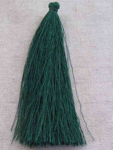 Tassel, polyester, 90mm, forest green, 1 pcs