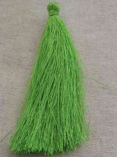 Tassel, polyester, 90mm, light green, 1 pcs