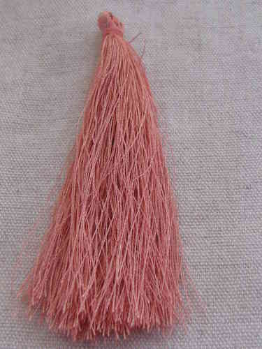 Tassel, polyester, 90mm, salmon, 1 pcs