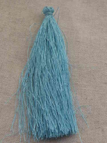 Tassel, polyester, 90mm, light blue, 1 pcs