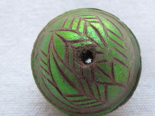 Leather bead, 25mm, lime green decoration, 1 pcs