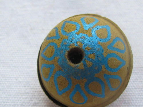 Leather bead, 25mm, matt yellow with turquoise decoration, 1 pcs