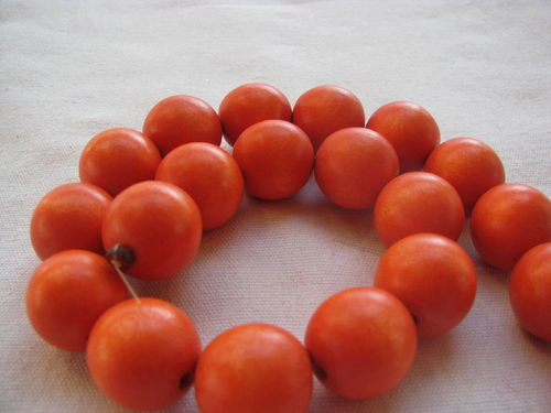 Wooden bead, 20mm, orange, 20 pcs