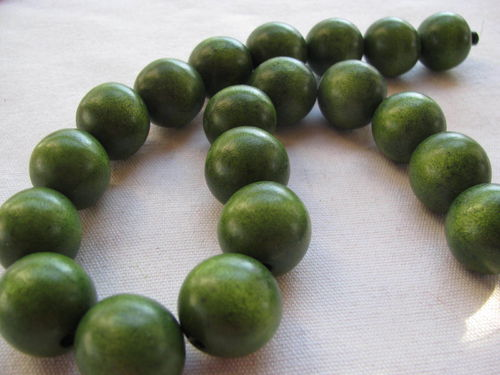 Wooden bead, 20mm, olive green, 20 pcs