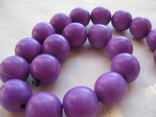 Wooden bead, 20mm, purple, 20 pcs