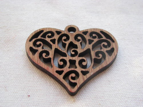 Wooden heart, 4x4.5cm, decorated brown, 1 pcs