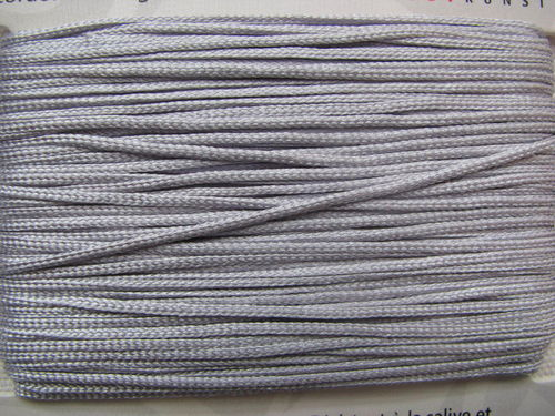 Jewellery cord, shiny silver, 1mm, 20m