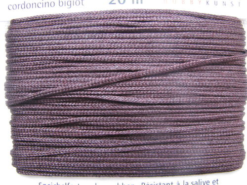 Jewellery cord, shiny brown, 1mm, 20m