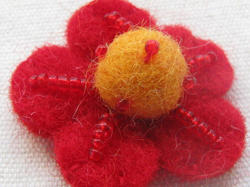 Felt flower, 35x12mm, red with yellow ball, 1 pcs
