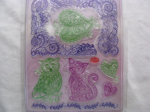 Viva silicon stamp, cat and owl, 1 set