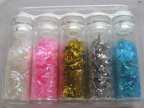 Micro paillettes, gold and silver, 5 bottles, 20g