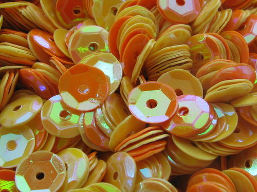 Sequin, cup, 6mm, Lilac Lane, yellow orange, 40gr
