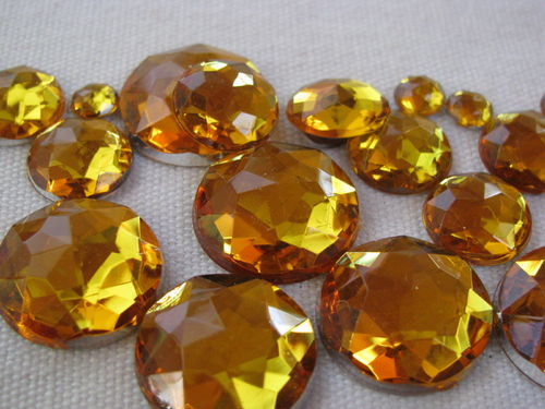 Glamour stone, acrylic, round mix, honey, 100 pcs