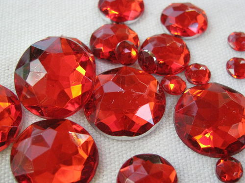 Glamour stone, acrylic, round mix, red, 100 pcs