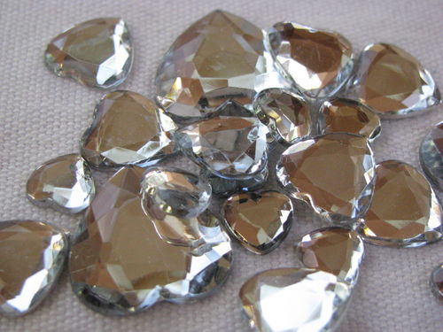 Glamour stone, acrylic, heart mix, crystal, 80 pcs