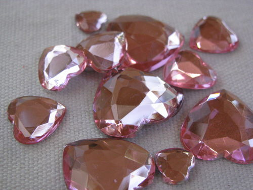 Glamour stone, acrylic, heart mix, rose, 80 pcs