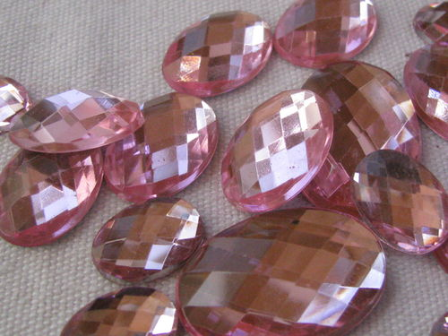 Glamour stone, acrylic, oval mix, rose, 43 pcs