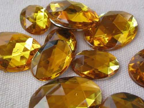 Glamour stone, acrylic, oval mix, honey, 43 pcs