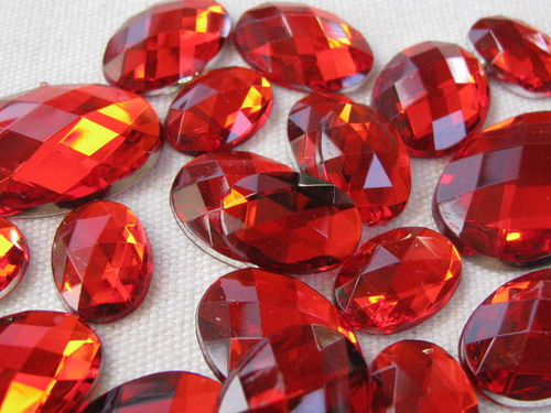Glamour stone, acrylic, oval mix, red, 43pcs
