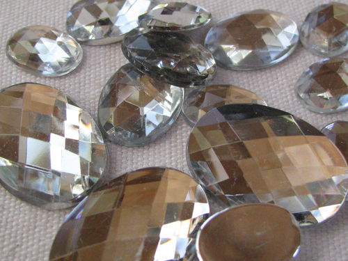 Glamour stone, acrylic, oval mix, crystal, 43 pcs