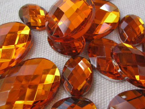 Glamour stone, acrylic, oval mix, orange, 43 pcs