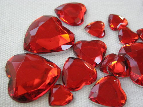 Glamour stone, acrylic, heart mix, red, 80 pcs