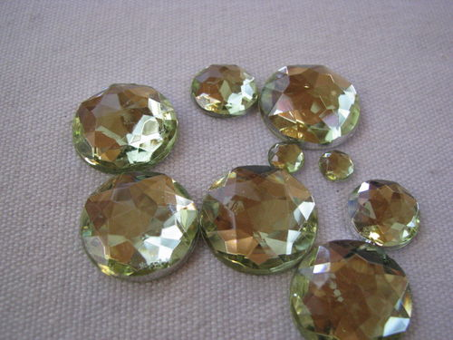 Glamour stone, acrylic, round mix, yellow, 100 pcs