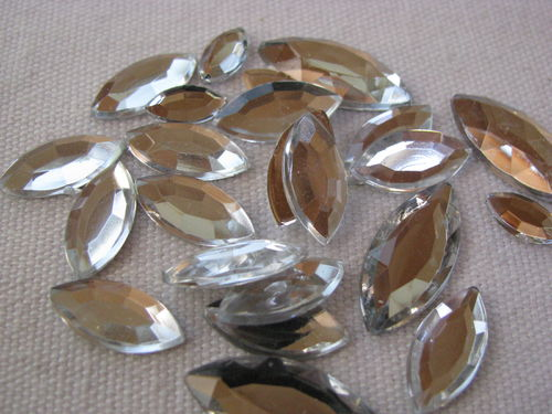 Glamour stone, acrylic, oval pointed mix, crystal, 120 pcs