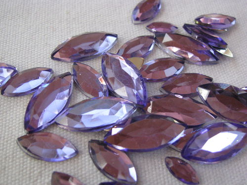 Glamour stone, acrylic, oval pointed mix, lilac, 120 pcs
