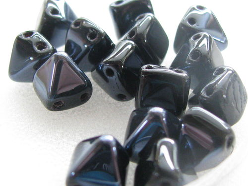 Pyramid, glass bead, 6x6mm, 2 holes, jet hematite, 15 pcs
