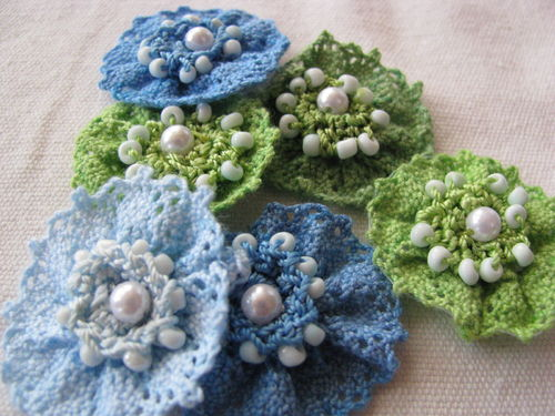 Lace flowers, lime-turquoise, 6 pcs