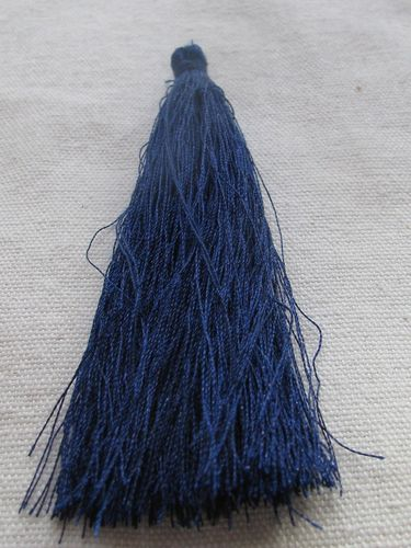 Tassel, polyester, 90mm, dark blue, 1 pcs
