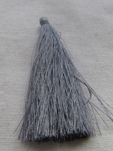 Tassel, polyester, 90mm, grey, 1 pcs