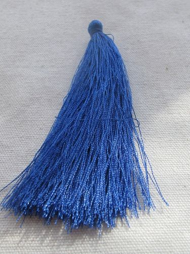 Tassel, polyester, 90mm, sea blue, 1 pcs