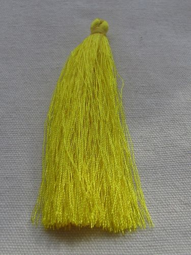 Tassel, polyester, 90mm, yellow, 1 pcs