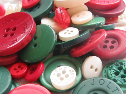 Button mix, red and green tones - Noel, 115g