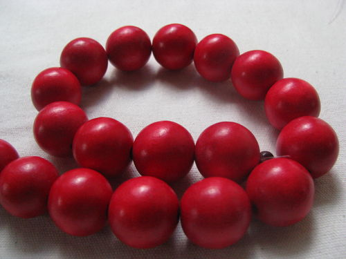 Wooden bead, 20mm, red, 20 pcs